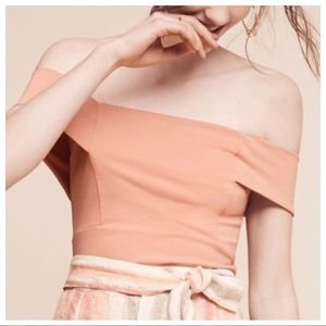 Anthro Deletta Ponte Blush Off The Shoulder Top